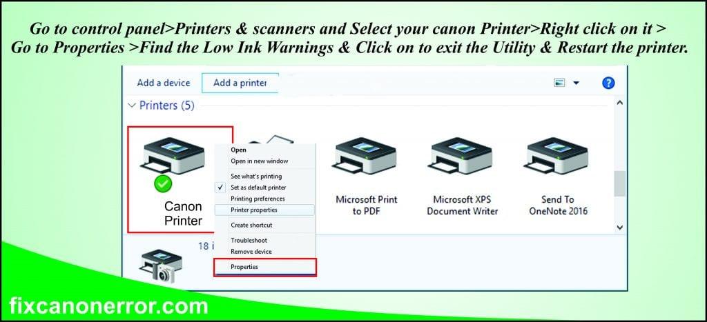 canon printer properties