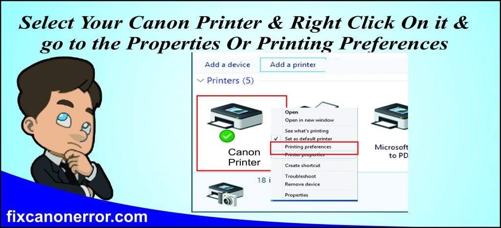 canon printer preference